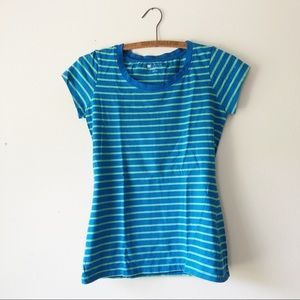 Striped capped sleeve blue green tee t-shirt S
